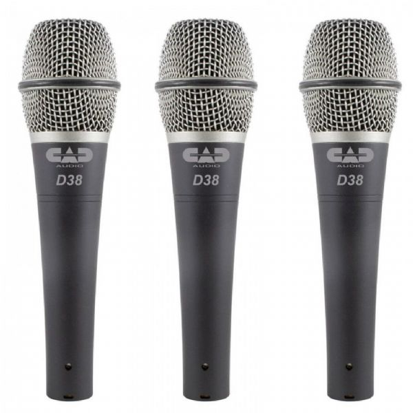CAD Audio - CAD LIVE D38 DYNAMIC INSTRUMENT MICROPHONE - 3 Pack - D38X3
